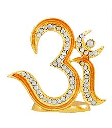 Gold Plated and Stone Studded Om