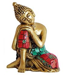 Buy Thinking Buddha - Brass Statue With Inlay