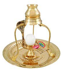 White Stone Shiva Linga on Brass Plate With Kalash on Tripod