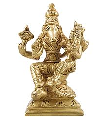 Varaha Avatar with Lakshmi - Brass Statue