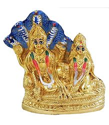 Vishnu and Lakshmi with Sheshnaga - Brass Statue