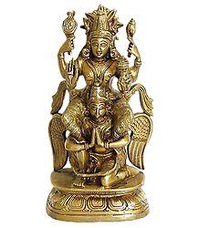 Lord Vishnu Sitting on Garuda - Brass Statue