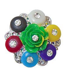 Stone Studded Multicolor Acrylic Flower Brooch