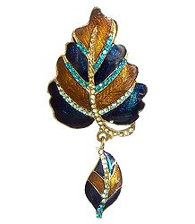 Stone Studded Laquered Leaf Shaped Brooch