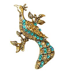 Cyan and Yellow Stone Studded Metal Peacock Brooch