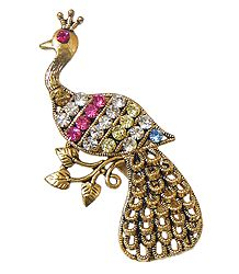 Faux Zirconia and Ruby Studded Brass Peacock Brooch