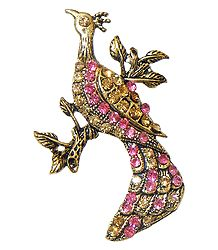 Pink and Yellow Stone Studded Metal Peacock Brooch