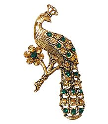 Stone Studded Metal Peacock Brooch