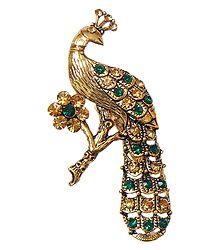 Stone Studded Metal Peacock Brooch