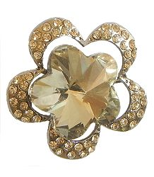Faux Citrine Flower Brooch