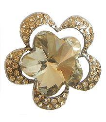 Faux Citrine Flower Brooch