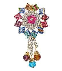 Multicolor Stone Studded Metal Flower Brooch