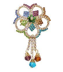 Multicolor Stone Studded Metal Flower Brooch