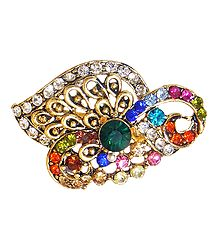 Multicolor Stone Studded Metal Brooch