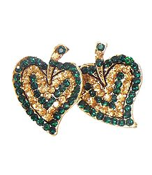 Green and Yellow Stone Studded Metal Leaf Brooch