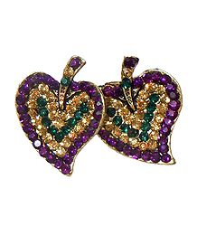 Purple & Yellow Stone Studded Metal Leaf Brooch