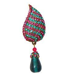 Magenta & Cyan Stone Studded Metal Leaf Brooch
