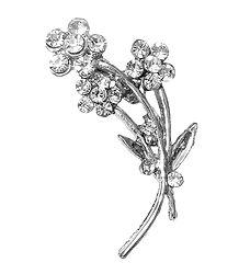 White Stone Studded Metal Flower Bouque Brooch