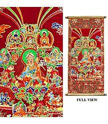 The Eight Manifestations of Guru Padmasambhava - Rubberized Paint on Velvet Cloth