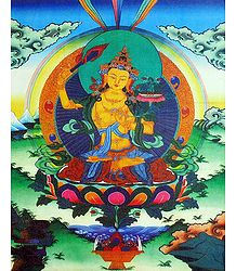 Buddhist Deity Manjushri - Screen Print on Canvas