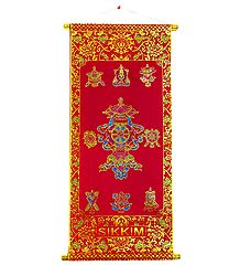 Buddhist Symbols - Rubberized Paint on Velvet Cloth - Wall Hanging