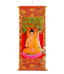 Lord Buddha - Rubberized Paint on Velvet Cloth