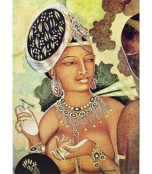 Flying Apsara (Reprint of Ajanta Cave Painting), India