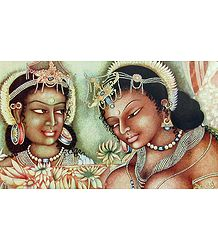 Black Princess with Attendent - Reprint of Ajanta Cave Painting, India
