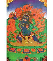 Blue Mahakala - Shop Online Thangka Poster