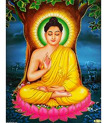 Lord Buddha in Meditation - Glitter Poster