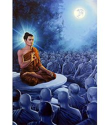 Lord Buddha Preaching to Monks - Poster