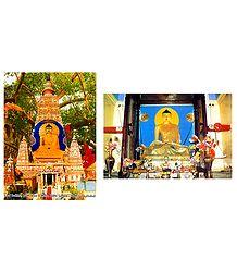Buddha and Mahabodhi Temple - Set of 2 Posters