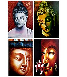 Face of Lord Buddha - Set of 4 Posters