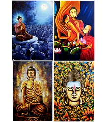 Lord Buddha and Amprapali Finds Peace in Buddha - Set of 4 Posters