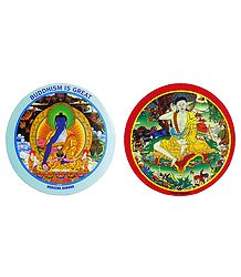 Lord Buddha and White Milarepa - Set of 2 Buddhist Stickers