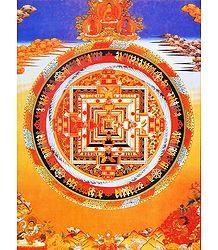 Red Mandala - Thangka Poster
