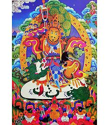 Vaishravana - The Buddhist Lord of Wealth, Riding Lion