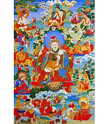 Guru Padma rGyal-po, One of the Manifestation of Padmasambhava, Surrounded by Siddhas of the Vajrayana