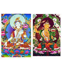 White Tara and Manjushri - Set of 2 Posters