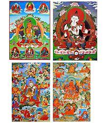Vajrasattva,Manjushree and Manifestations of Padmasambhava - Set of 4 Posters