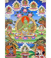 Buy Online Green Tara - Thangka Poster