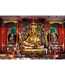 Guru Padmasambhava with Other Two Deities in Dichen Choling Gompa - South Sikkim, India