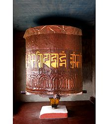 Prayer of Wheel in Dichen Choling Gompa - South ,, India