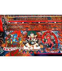 Vajrasattva and Akshobhya in Yab Yum with Vajrayogini in Dichen Choling Gompa - South Sikkim, India