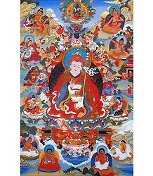 Guru Padma Byung-gnas, one of the Manifestations of Padmasambhava, Surrounded by Siddhas of the Vajrayana