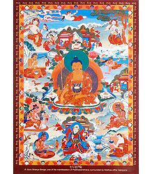 Guru Shakya Senge - One of the Manifestation of Padmasambhava, Surrounded by Siddhas of the Vajrayana
