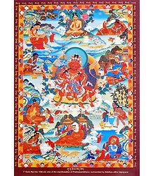 Guru Nyi-ma, 'Old-zer - One of the Manifestation of Padmasambhava, Surrounded by Siddhas of the Vajrayana