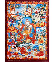 Guru Padma rGyal-po - One of the Manifestation of Padmasambhava, Surrounded by Siddhas of the Vajrayana