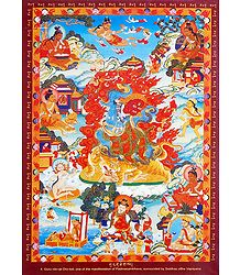 Guru rDo-rje Dro-lod - One of the Manifestation of Padmasambhava, Surrounded by Siddhas of the Vajrayana