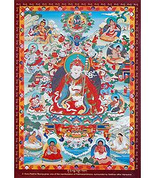 Guru Padma 'Byung-gnas - One of the Manifestation of Padmasambhava, Surrounded by Siddhas of the Vajrayana
